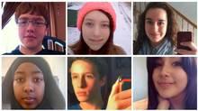 Some of the last of the millennials: top row, left to right, Ethan Ward, Cassandra Joyce, Anisa Sobhani; bottom row, left to right, Hayat Shafi, Gabriel Sugarman-Clark, Brandi Young.