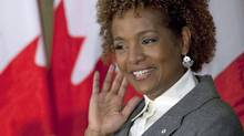 Governor-General Michaelle Jean gestures to the audience during a farewell reception in her honour on Parliament Hill on Sept. 28, 2010. (Adrian Wyld/The Canadian Press)