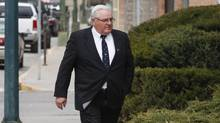 Winston Blackmore, who is accused of practising polygamy in a fundamentalist religious community, returns to court after a lunch break in Cranbrook, B.C., on April 18, 2017. (Jeff McIntosh/THE CANADIAN PRESS)