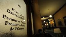 Photographs of the door to Premier Dalton McGuinty's office at Queens Park on Oct 16 2012. McGuinty prorogued the legislature and announced his resignation pending a provincial leadership convention. (Fred Lum/The Globe and Mail)