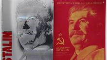 The cover, left, and first page of a notebook bearing a portrait of Soviet dictator Joseph Stalin are displayed in Moscow. (Mikhail Metzel/AP)