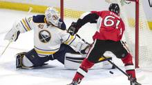 Buffalo Sabres goalie Robin Lehner stops Ottawa Senators right wing Mark Stone from scoring during second period NHL action Saturday November 5, 2016 in Ottawa. (Adrian Wyld/THE CANADIAN PRESS)