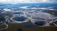 Aerial pictures: ? BHP Billitons EKATI Diamond Mine is located 200 kilometers south of the Arctic Circle and is Canadas first surface and underground diamond mine. Credit: Photos courtesy of BHP Billiton (BHP Billiton)