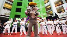 Pan Am Games mascot Pachi the porcupine is shown in Toronto on July 17, 2013. (MICHELLE SIU/THE CANADIAN PRESS)