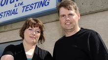 Angela Quinton, left, and husband Justin Quinton outside Sandberg Labs in Lethbridge, Alta. (Larry MacDougal)