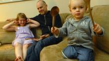 David O'Flaherty at home with his children, Tessa (7) and Koby (2) in Montreal. (John Morstad)