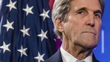 John Kerry called Friday for Russia and Syria to face a war crimes investigation for their attacks on Syrian civilians, further illustrating the downward spiral in relations between Washington and Moscow. (Geert Vanden Wijngaert/AP)