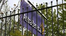 A sign is seen at an AstraZeneca site in Macclesfield, central England April 28, 2014. (DARREN STAPLES/REUTERS)