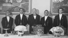 Colin MacPherson (far right) and other footmen at Government House, circa 1959. The steward in the centre is Alexander McKinnon.