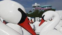 Disused swan pedalos sit in front of Toronto's Ontario place on Wednesday June 26, 2013, as they provincial government announce plans to redevelop a parking lot at the site into a new urban park and waterfront trail. (Chris Young/Chris Young for The Globe and Mail)