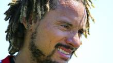 New England Revolution's newest player Jermaine Jones looks on during a soccer training session Tuesday, Aug. 26, 2014, in Foxborough, Mass. (John Tlumacki/AP)