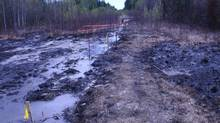 Produced water, water that is used to extract oil and gas from the ground, covers the ground at a spill site after from an Apache Corp. pipeline in northwestern Alberta, 20 kilometres north of Zama City, Alta. (Handout/Dene Tha First Nation)