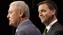 Ontario PC leader Tim Hudak and newly elected MPP Doug Holyday at a press conference Aug 2, 2013 at Queen's Park. Holyday won the seat in the riding of Etobicoke-Lakeshore in a by-election Thursday. (Moe Doiron/The Globe and Mail)