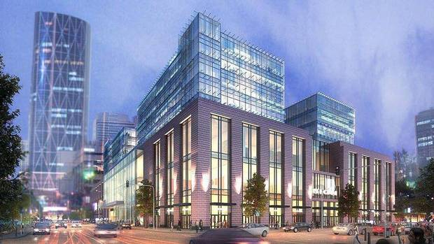 An artist's rendering of the shopping mall that RioCan Real Estate Investment Trust is planning for a 2.8-acre site in Calgary's East Village next to downtown. The developer is aiming for a 2017 opening date. (RioCan Real Estate Investment Trust)