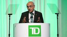 TD Bank Group president and CEO Bharat Masrani speaks during the bank's annual meeting of shareholders in Toronto, Ontario, March 30, 2017. (PETER POWER/REUTERS)