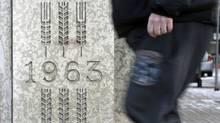 The cornerstone of the Canadian Wheat Board building is shown in Winnipeg on Dec. 7, 2011. (Trevor Hagan/Trevor Hagan/The Canadian Press)