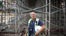Construction trades helper and labourer Jim Blancard is seen at the construction site of the Grandview Heights Aquatic Centre in Surrey, B.C., on Friday. Mr. Blancard has acquired 27 work certifications over the course of his four decades in the business. (Rafal Gerszak For the Globe and Mail)