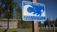 An earthquake hazard zone sign near the village of Anacla on Vancouver Island. (JONATHAN HAYWARD/THE CANADIAN PRESS)