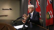 Manitoba Premier Greg Selinger responds to questions at a press conference at the Manitoba Legislature in Winnipeg on Nov. 16, 2015. (JOHN WOODS/THE CANADIAN PRESS)