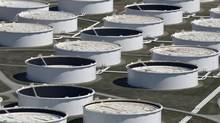 Crude oil storage tanks are seen from above at the Cushing oil hub in Oklahoma on Mar. 24, 2016. (NICK OXFORD/REUTERS)