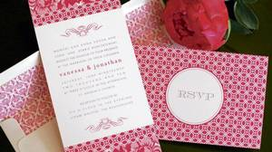 Love the Design's vibrantly patterned invitation set costs $10 through www.lovethedesign.com.