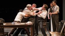 Twelve Angry Men: Byron Abalos, Joseph Ziegler, Michael Simpson, Stuart Hughes, Jordan Pettle & Tony DeSantis. (Cylla von Tiedemann for The Globe and Mail)