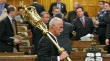 The mace is removed from the House of Commons chamber after Parliament was prorogued on Dec. 4, 2008. (Sean Kilpatrick/The Canadian Press)