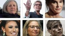Clockwise from top left: Alberta MLA Maria Fitzpatrick, Ontario Premier Kathleen Wynne, retired Olympic decathlon champion Caitlyn Jenner, actor Charlize Theron, photogrpaher Annie Leibovitz and Mrs. Universe 2015 Ashley Callingbull.