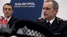 """Peter Davis, right, of the Child Exploitation and Online Protection (CEOP) Centre, United Kingdom and Director of Europol Rob Wainwright outline details of arrests during """"Operation Rescue"""" linked to a global child abuse network during a news conference in The Hague March 16, 2011. (JERRY LAMPEN/JERRY LAMPEN/REUTERS)"""