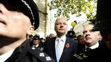 WikiLeaks' founder Julian Assange leaves the High Court in London Nov. 2, 2011. Assange should be sent to Sweden from Britain to face questioning over alleged sex crimes, London's High Court ruled on Wednesday, rejecting his appeal against extradition. (Paul Hackett/Reuters/Paul Hackett/Reuters)