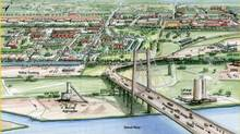A proposed new Canadian-financed bridge linking Detroit and Windsor, Ontario, is shown in this artist's rendering, released Friday, June 15, 2012 by the office of Michigan Gov. Rick Snyder, courtesy of the Michigan Department of Transportation. The infrastructure project has cleared its last regulatory hurdle with the granting of a permit for a new bridge between Detroit and Windsor, Ont. (Michigan Department of Transportation/THE ASSOCIATED PRESS)