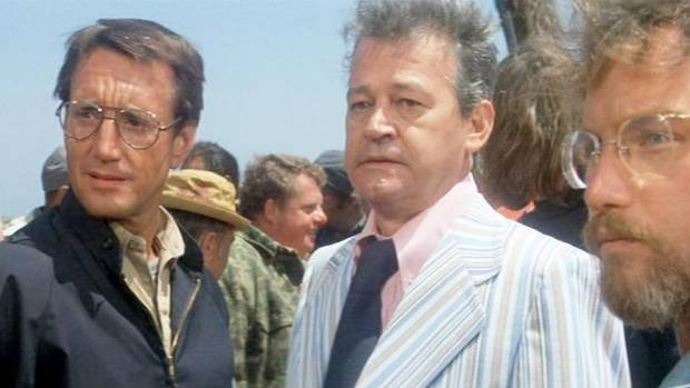 Murray Hamilton, middle, as Mayor Larry Vaughn in Jaws, with Roy Scheider and Richard Dreyfuss.