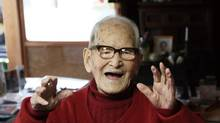 Jiroemon Kimura of Japan, the oldest man in recorded history, according to record keepers. (Kyotango City Hall/Bloomberg)
