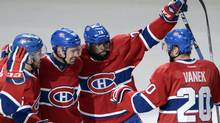 Montreal Canadiens left wing Thomas Vanek (20) P.K. Subban(76) , Tomas Plekanec(14) and Josh Gorges celebrate after the first goal against the Boston Bruins during first period NHL playoff action Tuesday, May 6, 2014 in Montreal. (The Canadian Press)