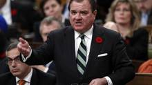 Minister of Finance Jim Flaherty speaks during Question Period in the House of Commons on Parliament Hill in Ottawa on Oct. 31, 2012. (CHRIS WATTIE/REUTERS)