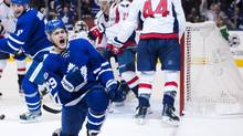 Toronto Maple Leafs winger William Nylander celebrates his goal against the Washington Capitals during Game 3 in Toronto on Monday, April 17, 2017. (Nathan Denette/THE CANADIAN PRESS)