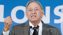 Former Quebec premier Jacques Parizeau told hearings in Montreal that Quebec's securities regulator should exercise its veto power to ensure Montreal doesn't become a shell for derivatives. (Graham Hughes/The Canadian Press/Graham Hughes/The Canadian Press)