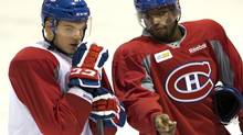 Montreal Canadiens defenceman P.K. Subban goes over a play with forward Alex Galchenyuk (Ryan Remiorz/THE CANADIAN PRESS)