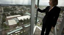 Surrey Mayor Dianne Watts stands with a view of the city. (JOHN LEHMANN/GLOBE AND MAIL)
