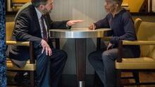 NDP Leader Tom Mulcair, left, meets with Gary Freeman in a Washington hotel. (Ken Cedeno)