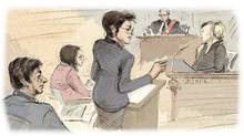 In this artist's sketch (left to right), Jian Ghomeshi, defence co-counsel Danielle Robitaille, defence lawyer Marie Henein, Justice William Horkins and a witness appear in court on the second day of Ghomeshi's sexual assault trial in Toronto, Tuesday, Feb.2, 2016. (Frank Gunn/THE CANADIAN PRESS)