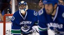 Things were not looking up for Vancouver Canucks goalie Roberto Luongo, who gave up four goals on just 18 shots in two periods against the Edmonton Oilers on Wednesday night. (DARRYL DYCK/THE CANADIAN PRESS)