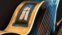 Detail of guitar created by Linda Manzer. (David Wren/McMichael Canadian Art Collection)