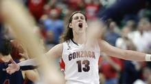 Gonzaga's Kelly Olynyk reacts after Saint Mary's called time out during the second half of the West Coast Conference tournament championship NCAA college basketball game, Monday, March 11, 2013, in Las Vegas. Gonzaga won 65-51. (Julie Jacobson/AP)