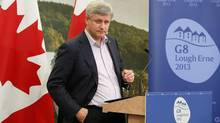 Canada's Prime Minister Stephen Harper holds a news conference at the end of a G8 summit at the Lough Erne golf resort in Enniskillen, Northern Ireland June 18, 2013. (YVES HERMAN/REUTERS)