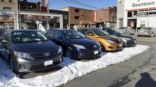 Cars for sale on the lot at the Toyota dealership at 677 Queen St. East in Toronto on March 3 2014. (Fred Lum/Fred Lum/The Globe and Mail)