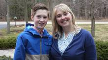 Jennifer Klatt and her 13-year-old son Matthew O'Halloran, who suffers from Crohn's disease, pose for a picture in Brockville, Ont., on April 12, 2017. (Lars Hagberg/THE CANADIAN PRESS)