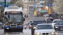 A Vancouver trolleybus. (JOHN LEHMANN/JOHN LEHMANN/THE GLOBE AND MAIL)