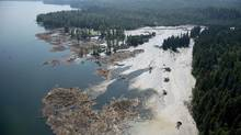 A aerial view shows debris caused by a tailings pond breach going into Quesnel Lake, near the town of Likely, B.C., on Aug. 5, 2014. (Jonathan Hayward/The Canadian Press)