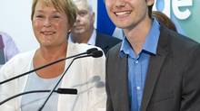 PQ leader Pauline Marois and candidate and former student leader Leo Bureau-Blouin respond to questions during a news conference Thursday, August 2, 2012 in Laval, Que. (Paul Chiasson/CP)